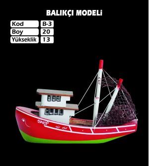 Balıkcı Gemi Maketi Kod B3 Ebat 20X13