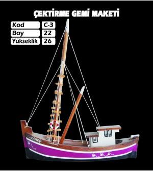 Çektirme Gemi Maketi Kod C3 Ebatları 22X26
